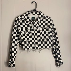 ⭐️Checkerboard Denim Cropped Jacket